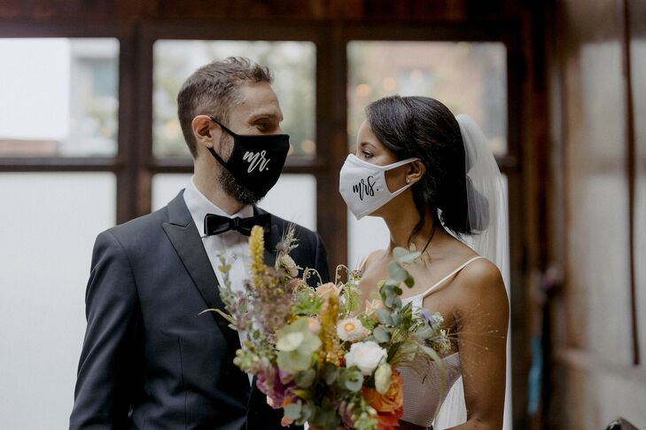 Couple Wearing Masks for Brooklyn, New York, Elopement