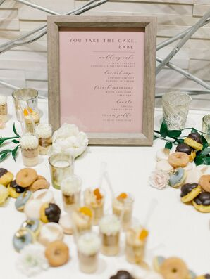 Dessert Table Spread with Romantic Pink Sign