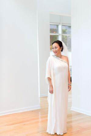 Silk, One-Shoulder Ivory Wedding Dress