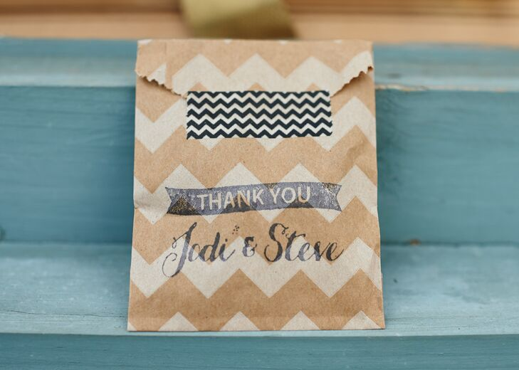 For favors, the couple passed out pieces of their favorite local chocolate in chevron-printed bags along with a heartfelt thank you note.