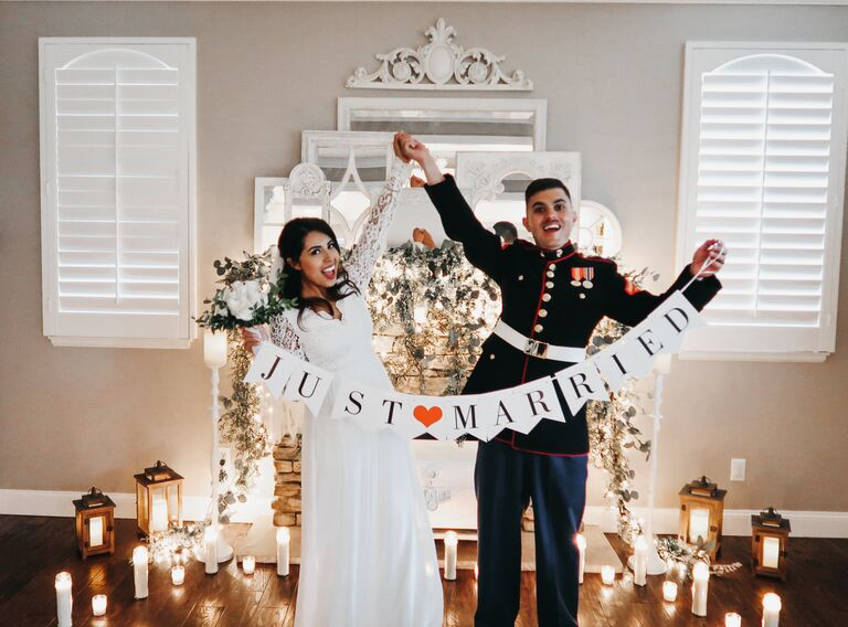 couple marry living room