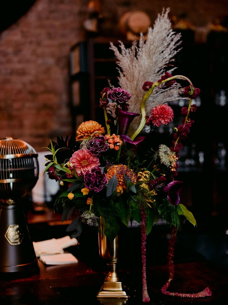 spring wedding centerpieces dark and moody florals