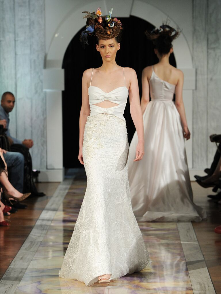 Dany Mizrachi Fall 2019 fit and flare cutout spaghetti strap wedding dress