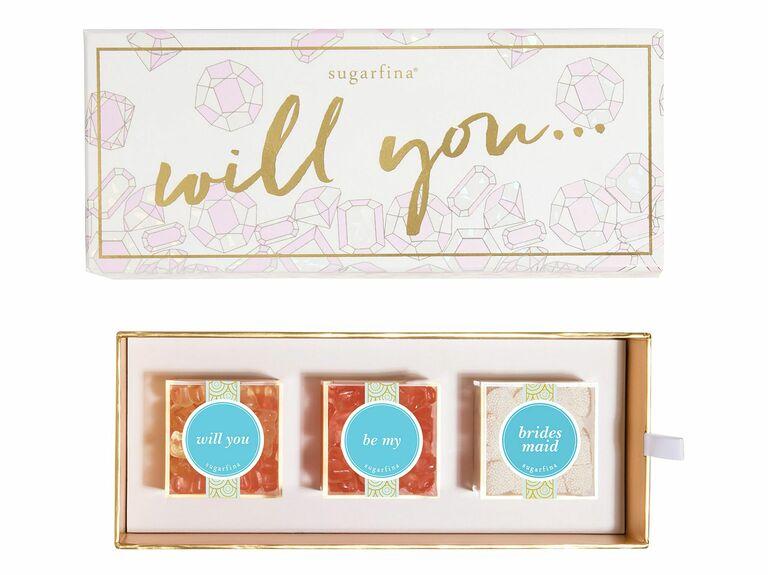 sugarfina three piece candy set bridesmaid proposal