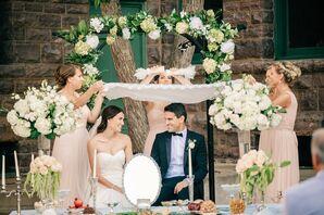 Elegant Hydrangea and Peony Wedding Arch