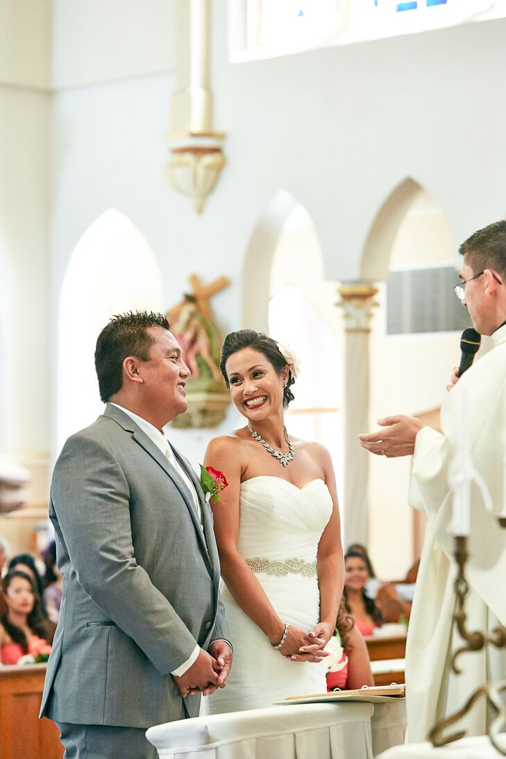 Shirley and Patrick had their Catholic wedding ceremony at Santa Clara Catholic Church in Oxnard, California, where they attended service.
