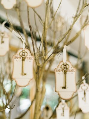 Escort Cards Made with Keys Hanging From Branches