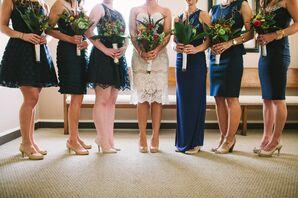 Strapless Knee-Length Rafael Cennamo Wedding Dress
