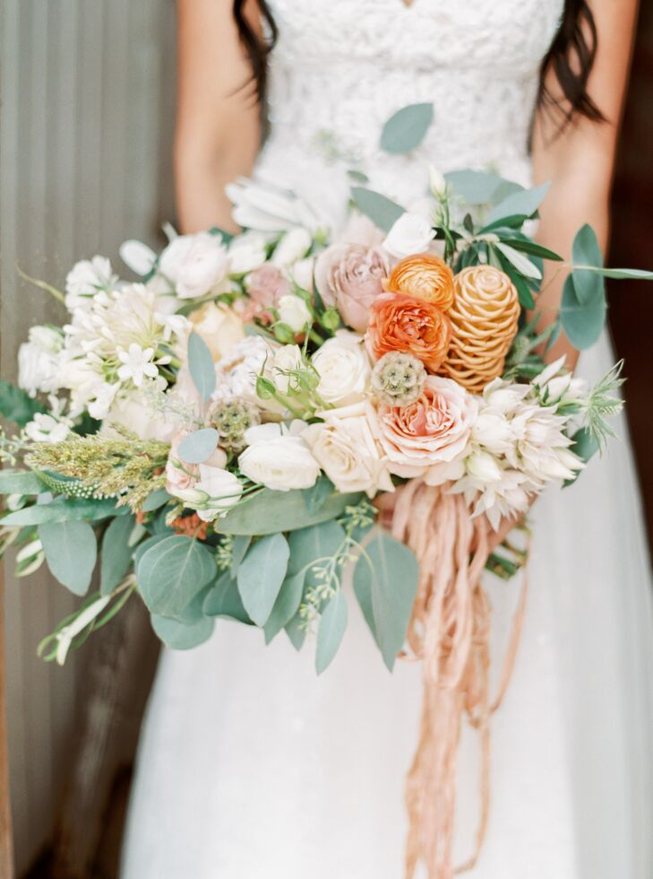 Bouquet with Peach and White Flowers