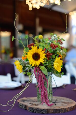 Fall Wildflowers on DIY Wooden Slab Centerpieces