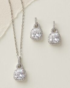 Dareth Colburn Catalina Cushion Cut CZ Jewelry Set (JS-1610) Wedding Necklace photo