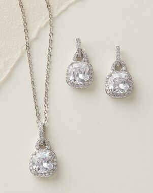 Dareth Colburn Catalina Cushion Cut CZ Jewelry Set (JS-1610) Wedding Necklace photo