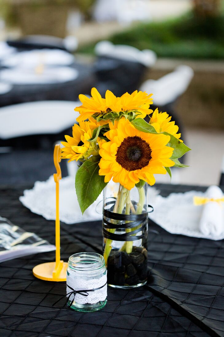 Sunflower Centerpiece With Black Ribbon