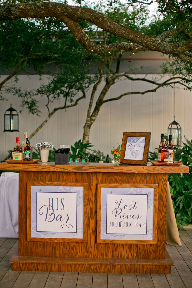 "The newlyweds instead created a ""his"" and ""hers"" bar where they served speciality cocktails—bourbon for the groom and champagne and vodka for the bride."