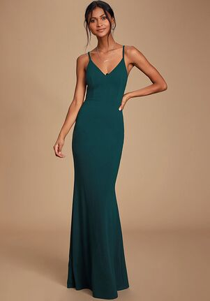 Lulus Moments Of Bliss Forest Green Backless Mermaid Maxi Dress V-Neck Bridesmaid Dress
