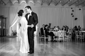 One-Shoulder Silk Ivory Wedding Dress