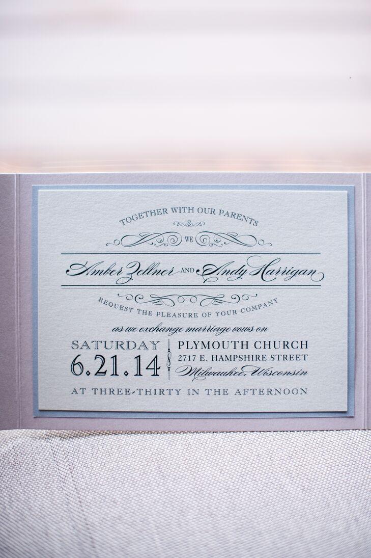 Gray and Blush Wedding Invitation