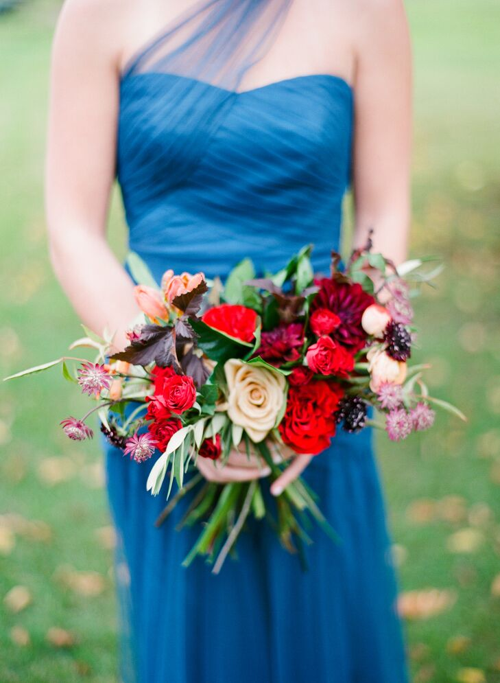 Red Rose and Thistle Bouquet