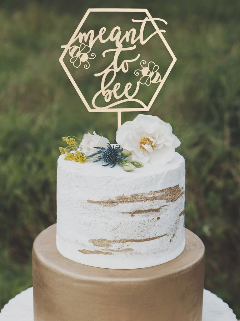 Meant to Bee unique wedding cake topper