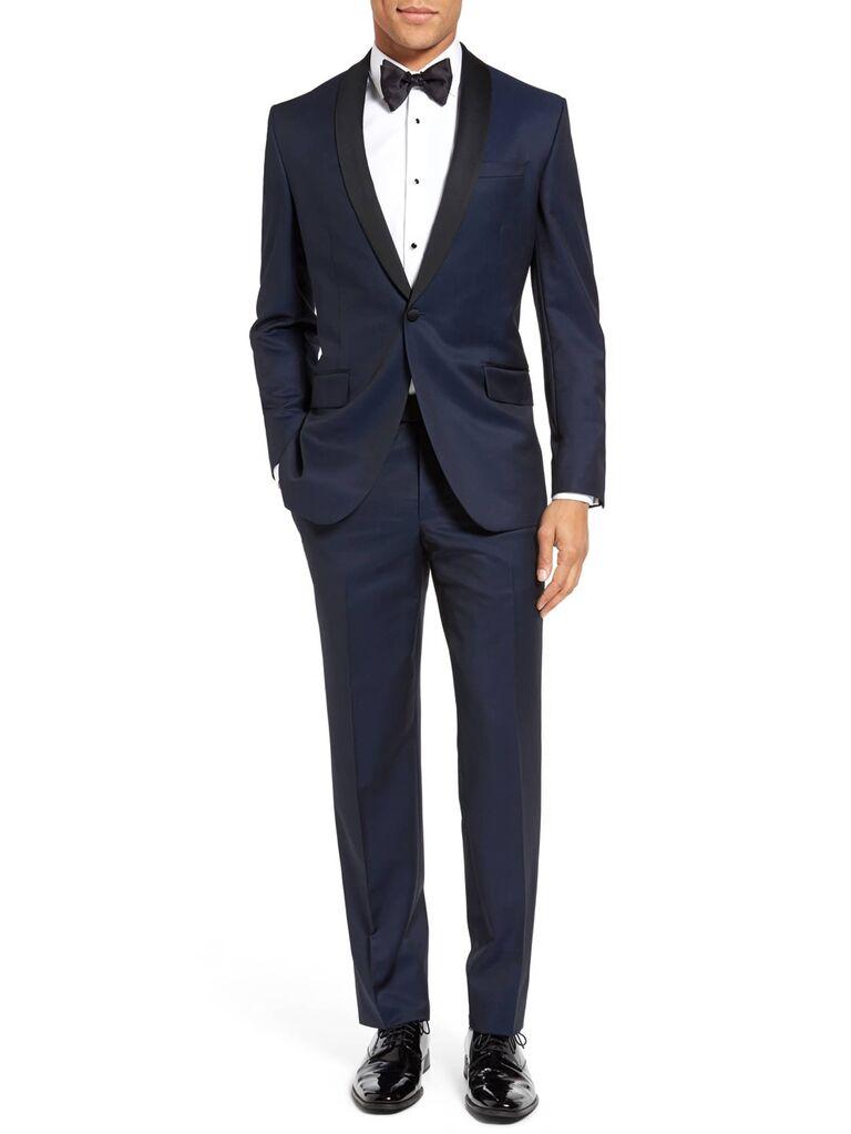 Blue tuxedo for formal wedding