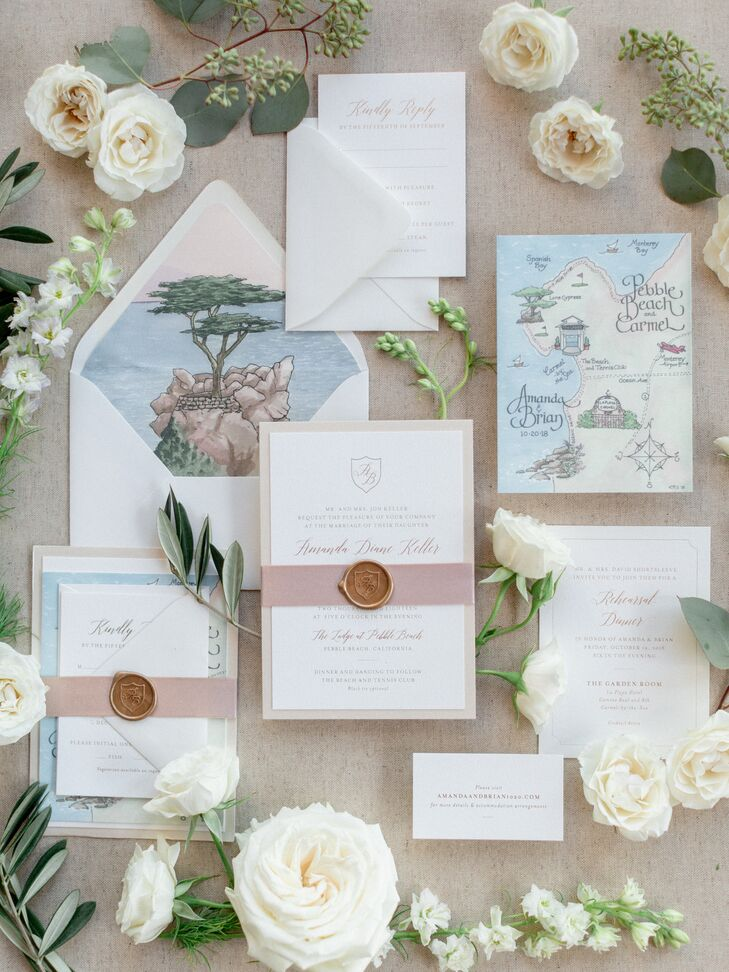 Custom Invitations with Watercolor Map and Envelope Liner