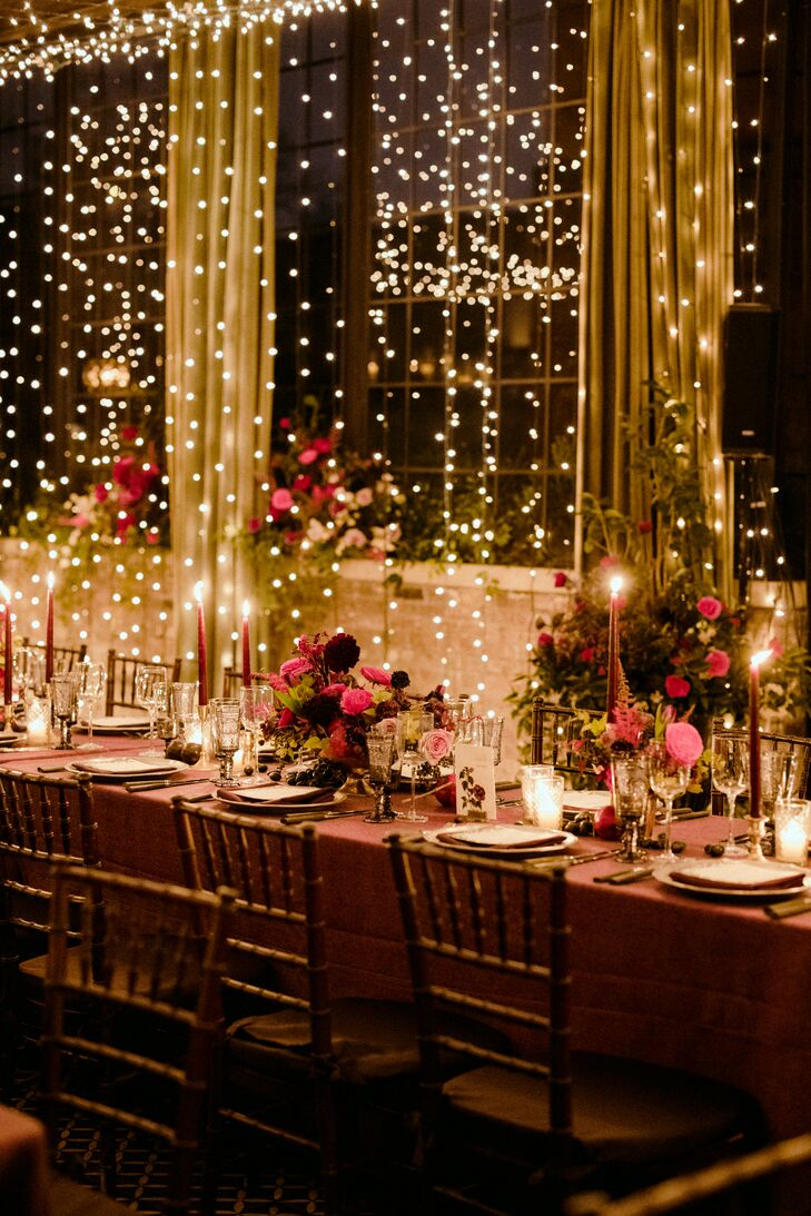 Romantic Dining Table with String Lights and Taper Candles
