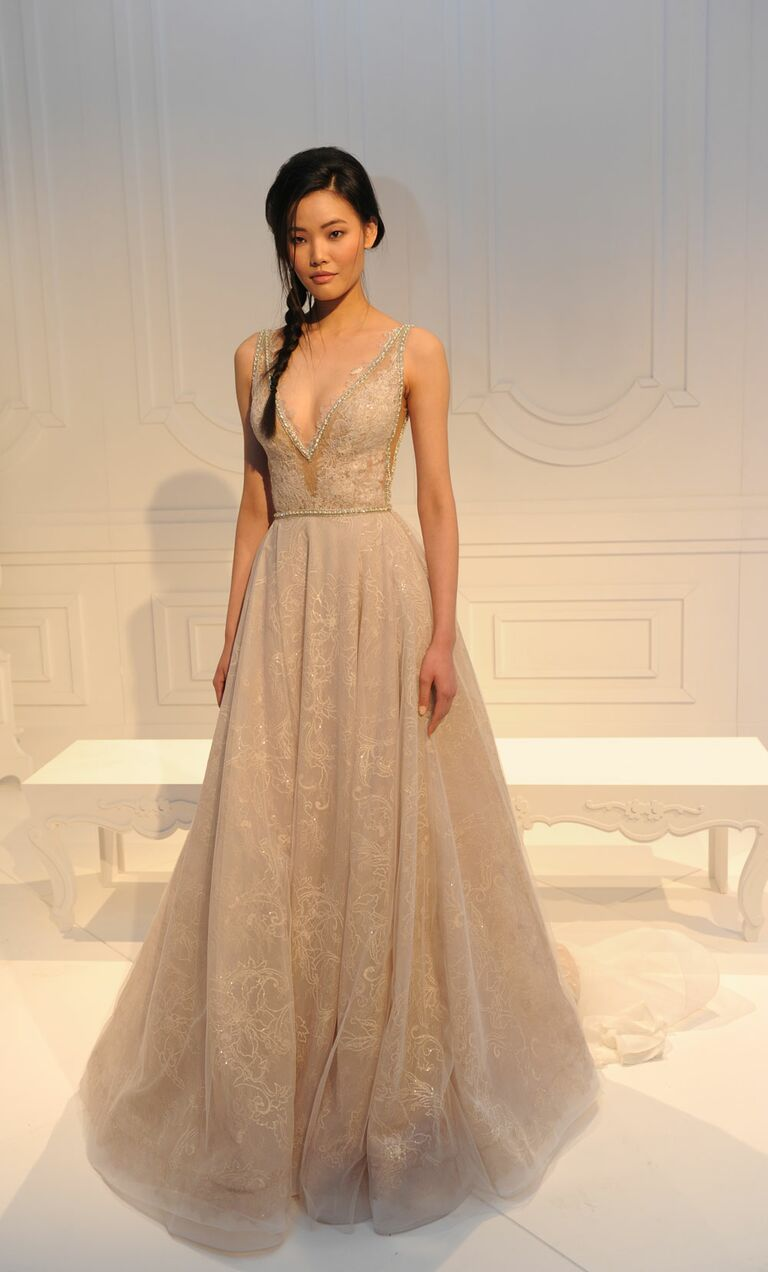 Champagne Plunging V Neck With Tulle Skirt Wedding Dress From Galia Lahav S Spring Summer 2017