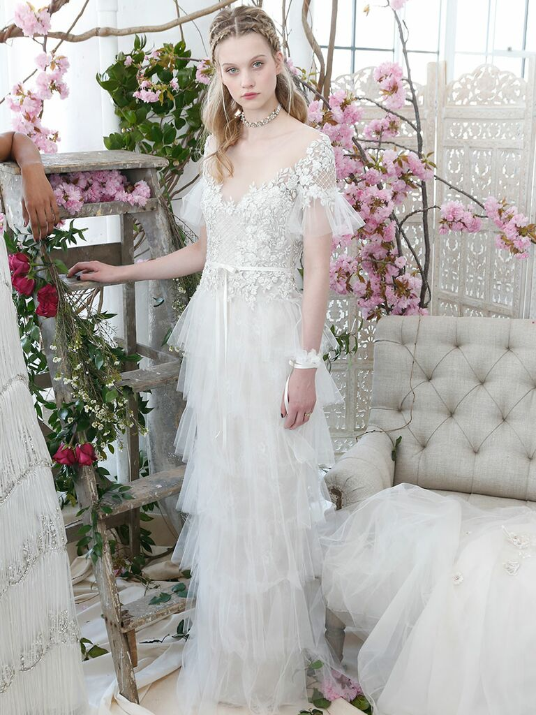 Marchesa Notte Bridal Spring 2018 Column Wedding Gown With A Tiered Tulle Skirt