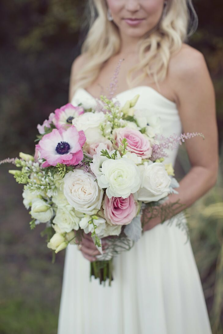 Mary Ellen wanted her bouquet to look like flowers gathered from a garden--her oversize pastel bouquet featured anemones, roses and sweet peas.