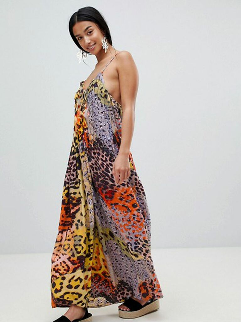 multi snake print lattice detail beach maxi dress