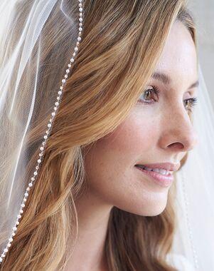 Dareth Colburn Blush Pink & Pearl Edge Veil (VB-5070) Ivory Veil