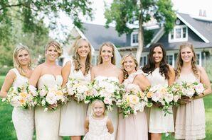 Eclectic, Neutral Bridesmaid Dresses