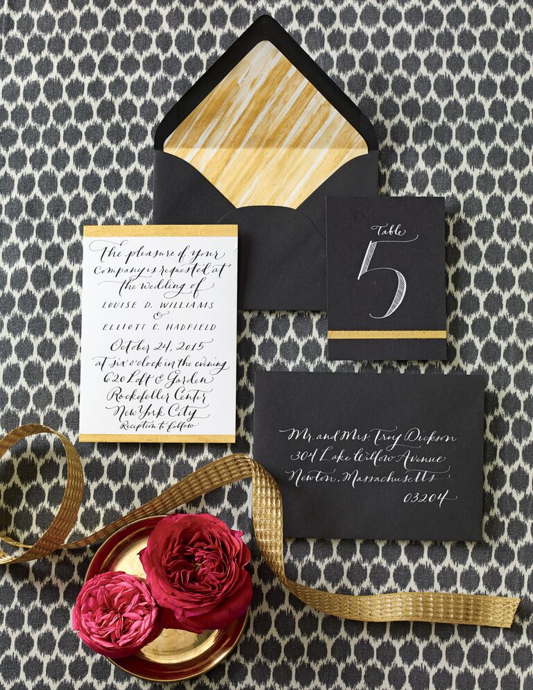 Black and gold wedding stationery
