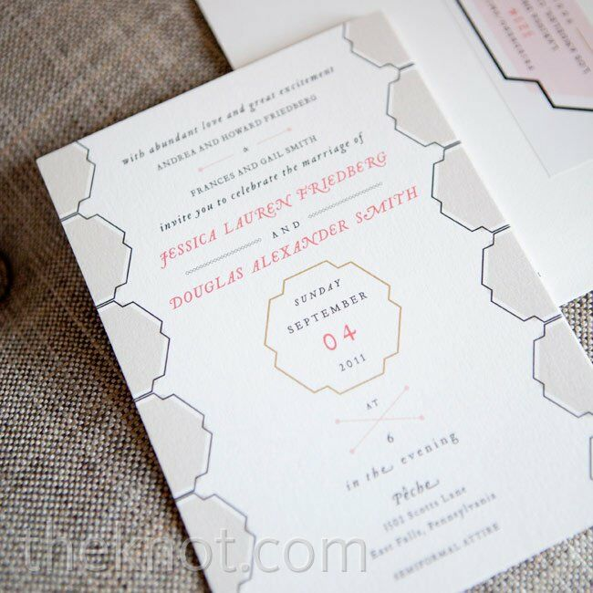 Modern invitations had a gray geometric design and red and black type.