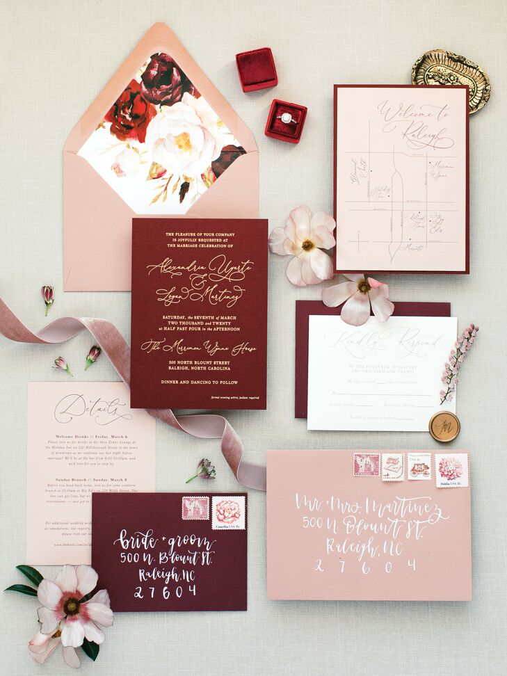 Burgundy-and-Blush Invitations for North Carolina Wedding at The Merrimon-Wynne House