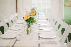 White Reception Decor with Pops of Peach