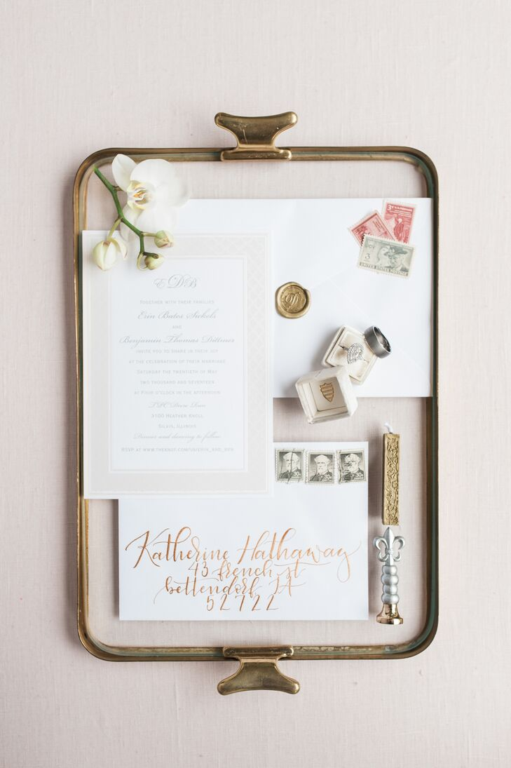 Custom Invitations with Vintage Stamps and Gold Calligraphy