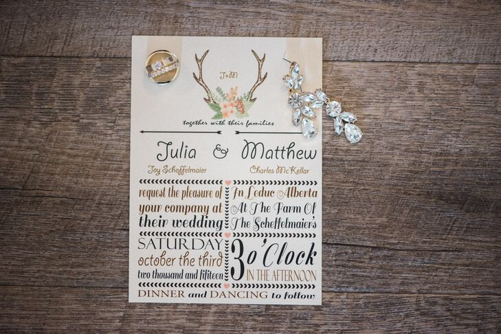 Julia designed all the wedding stationery herself. To give guests a taste of the affair to come, she incorporated elements like antlers, woodland florals and playful typefaces that spoke to the wedding's whimsical, rustic theme.