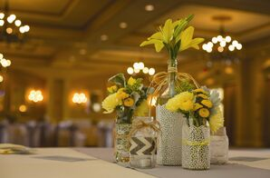 Fabric-Wrapped Floral Centerpieces
