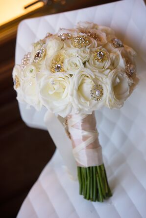Ivory Rose Bouquet with Gold Jewels