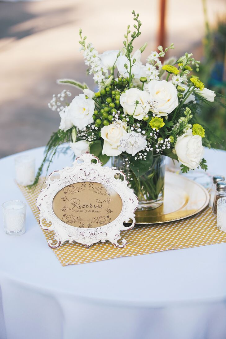 Ivory and Green Flowers, Reserved Sign