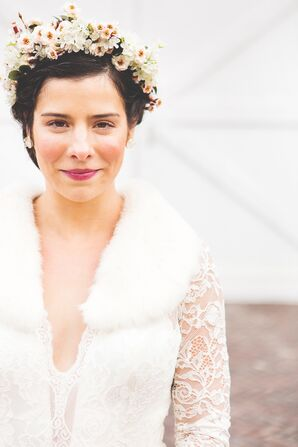 White Fur Stole and Illuminated Flower Crown