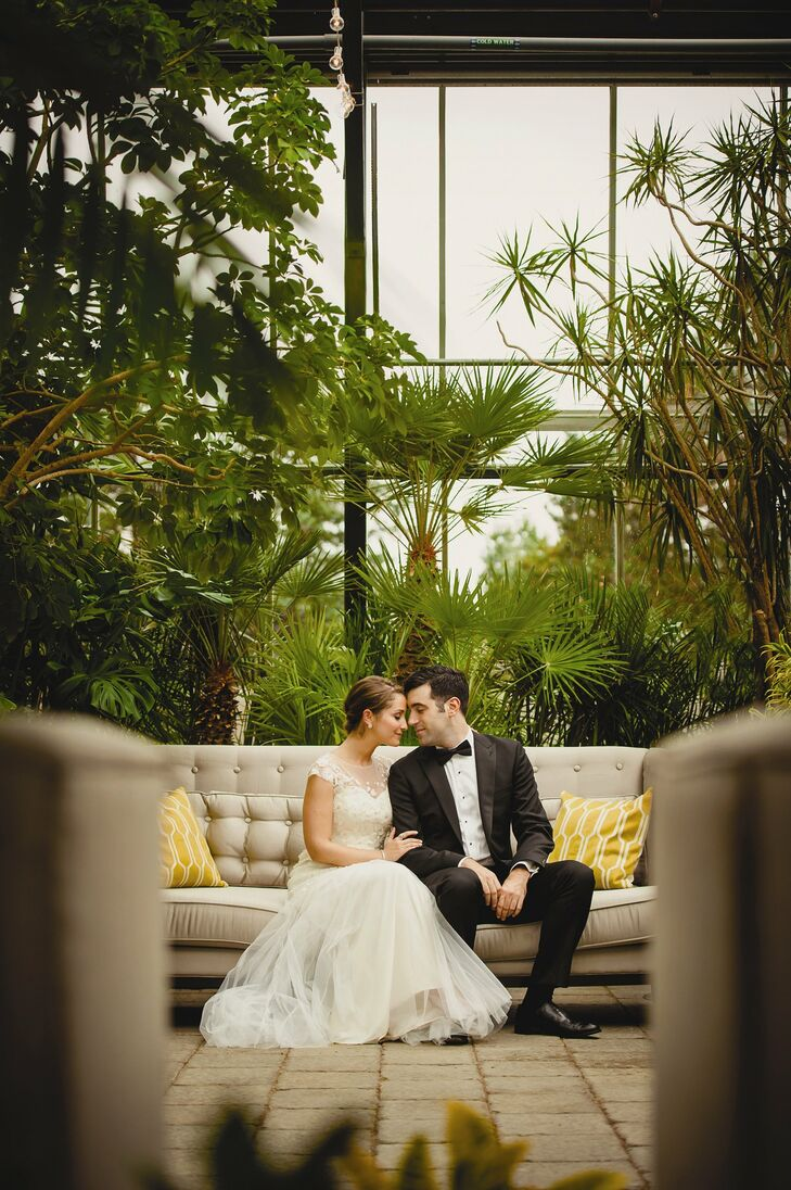 Carly and David held their Art Deco-inspired wedding at the Planterra Conservatory in West Bloomfield. They used lots of gold touches, bright blooms a