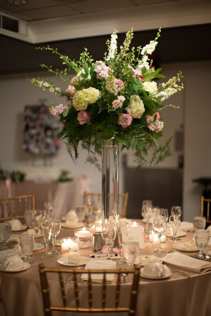 Traditional Fern Rose and Stock Centerpieces
