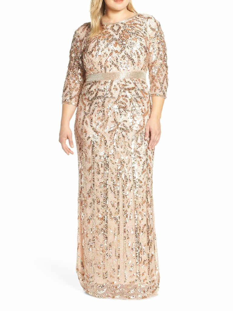 rose gold beaded evening dress with long sleeves