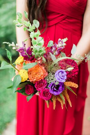 Colorful Bells of Ireland and Rose Bouquet