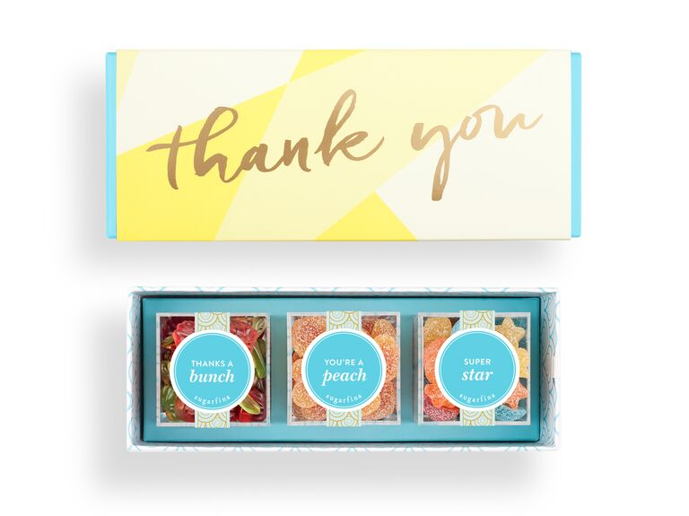 Sugarfina candy-filled thank you box for wedding favors