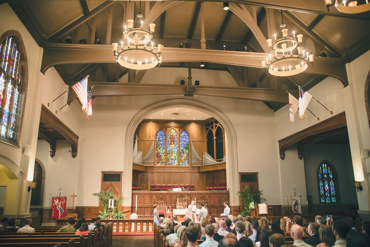 "Finding a ceremony site was a little more of challenge for the couple, but when they came across Grace United Methodist Church on Ponce de Leon they instantly knew it was perfect for the occasion.  ""The church was beautiful with its stained glass, organ pipes and Gothic chandeliers.   The people that worked for Grace, particularly Rev. Kate Floyd, were warm and inviting,"" says the couple. ""We didn't really dwell on the decision, we just knew it was right for us."""
