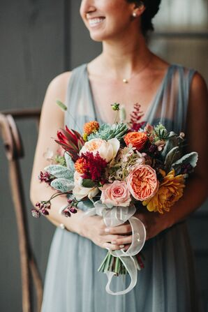 Romantic Burgundy, Orange and Sage Bouquet
