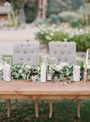 Rustic Farm Tables with Lush Eucalyptus Table Runner